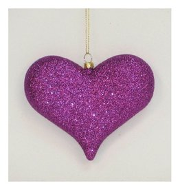 North Star Premier Ornaments 5311465 Purple Glittered Heart Ornamant