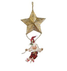 Mark Roberts Fairies Elves 51-68402-B Hanging Elf With Star 23.5 inch