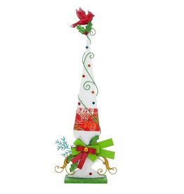 Mark Roberts Christmas Decorations Finial Festive Cardinal Bird on Stand-White