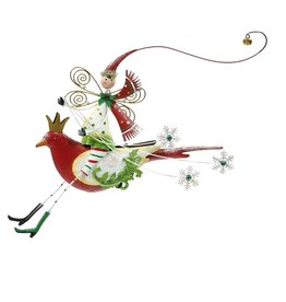 Mark Roberts Christmas Decorations Festive Fairy on Bird Ornament-Red