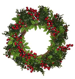 Darice Christmas Wreath 24 inch Mixed Green Boxwood w Red Berry