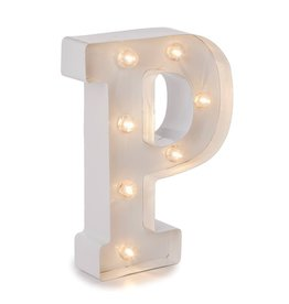 Darice LED Light Up Marquee Letter P 5915-793 White Metal