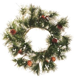 Darice Christmas Snow Pine Cones Candle Ring - Mini Wreath 6 inch