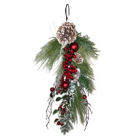 Darice Christmas Garland Teardrop 30 Inch Long Needle-Cones-Red Bell Ornament