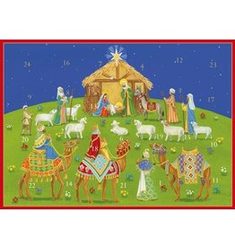 Caspari Advent Calendar Card ADV257C Nativity Under the Christmas Sky