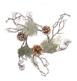 Darice Christmas Candle Ring for 4 inch Pillar Mixed Pine w Cones-White Berry
