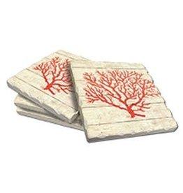 Cala Home Abosorbent Stone Coasters 4pk 88576 Coral