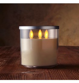 Luminara Flameless Candle Tri Wick in Acrylic Jar-4D Inch-Ivory