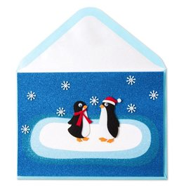 Papyrus Greetings Christmas Card Two Felt Penguins by Papyrus