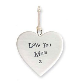 East of India Porcelain Heart Ornament 4172X Love You Mom X