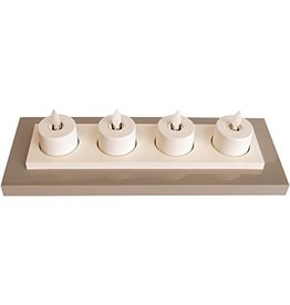 Luminara Flameless Candle Tea Lights Set of 4 Rechargeable w Base