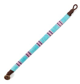 Twos Company Ojai Bracelet Cotton Wrist Band 8.5 Inch L85-J Aqua Pink Blue