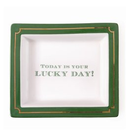 Twos Company Wise Saying Porcelain Tray 50880-H Today Is Your Lucky Day