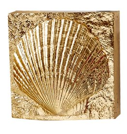 Tozai Home Gold Wall Art Block w Shell Relief Scallop