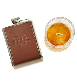 Twos Company Leather Flask 6oz w Quote Any Man Who Eats Dessert