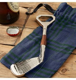 Twos Company Golf Club Bottle Opener in Plaid Gift Pouch 50532 by Twos Company