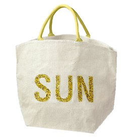 Twos Company Jute Bag With Beaded Text SUN by Twos Company