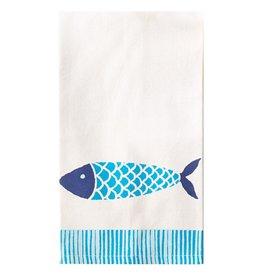Twos Company Santorini Fish Pattern Cotton Dish Towel 17x29 -A