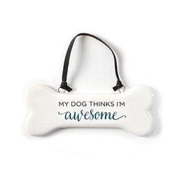 Twos Company Happy Hound Dog Bone Ornament-My Dog Thinks Im Awesome