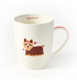 Twos Company Puppy Love Porcelain Coffee Mug-Yorkshire Terrier w Posh Pooch