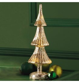 Twos Company Mercury Glass LED Christmas Tree Decoration 12H