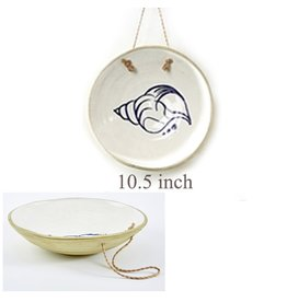 Twos Company Mykonos Hanging Plate w Conch Shell Design 10.5 inch