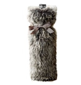 Twos Company Faux Fur Bottle Bag 80370-20-A Silver Mink