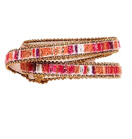 Twos Company Beaded Trim Wrap Snap Closure Bracelet by 2 Chic 11544-B
