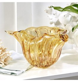 Twos Company Golden Seas Shell Art Glass Bowl w Gold Flecks LAF002