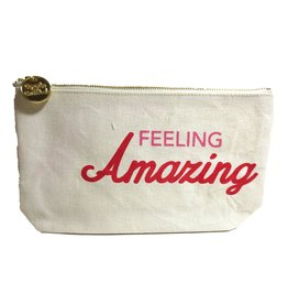 Twos Company Canvas Bag w Quote-Feeling Amazing-Zippered Everything Bag