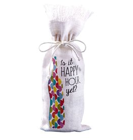 Twos Company Jute Wine Bottle Bag w Is It Happy Hour Yet 51009-20-C