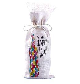 Twos Company Jute Wine Bottle Bag w Is It Happy Hour Yet 51009-20-C