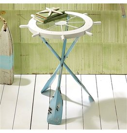 Twos Company Ships Ahoy Accent Table w Oar Legs and Glass Wheel 51187 Twos Company