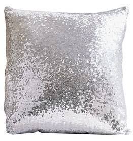 Twos Company Dash of Dazzle Sequin PIllow Silver