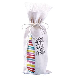 Twos Company Jute Wine Bottle Bag w Why Limit Happy Hour 51009-20-A by Twos Company