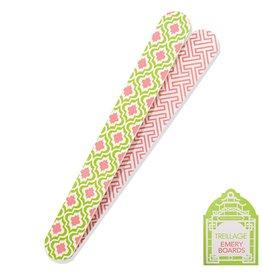 Twos Company Treillage Emery Board Pink Green