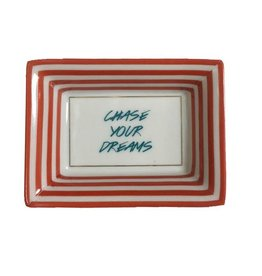 Twos Company Petite Sayings Porcelain Trinket Tray-Chase Your Dreams