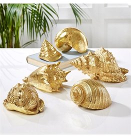 Twos Company Decorative Gold Shells Shelf Accents Table Decor Set of 6