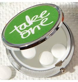 Twos Company Pill Box w Mirror Green w Take One Text 51064-20-B