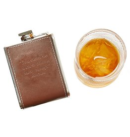 Twos Company Leather Flask 6oz w Too Much to Drink 80228-20-C Twos Company