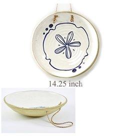 Twos Company Mykonos Hanging Plate w Sand Dollar Design 14.25 inch