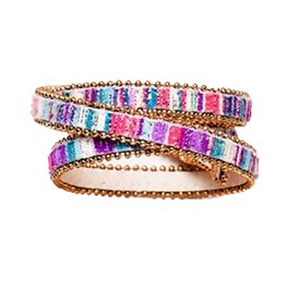 Twos Company Beaded Trim Wrap Snap Closure Bracelet by 2 Chic 11544-E