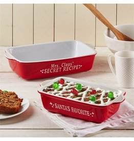 Twos Company Christmas Baking Trays Set of 2 Mr n Mrs Claus Stoneware Microwave Oven Safe