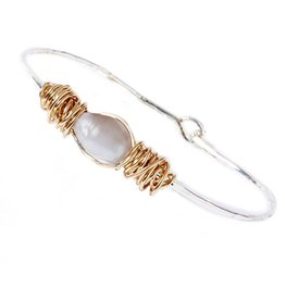 Twos Company Bangle Bracelet Wire Wrapped Pearl-White Gold Silver Cuff