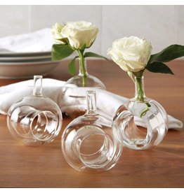 Twos Company Sitting Pretty Glass Flower Vase Napkin Ring Napkin Holder Set 4 Twos Company