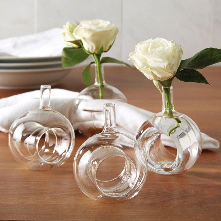 Sitting Pretty Glass Flower Vase Napkin Ring Napkin Holder Set 4