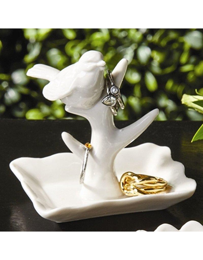 Twos Company Porcelain Bird Jewelry Holder 50233-20-A Bird on Branch