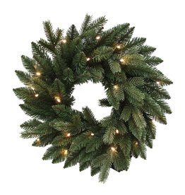 Kurt Adler Green Christmas Wreath Battery Operate Pre-Lit LED Lights 18 inch