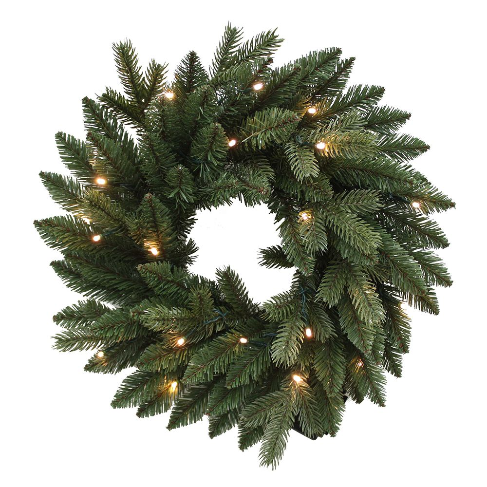 kurt adler green christmas wreath battery operate pre lit led lights 18 inch