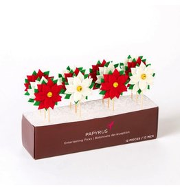 Papyrus Papyrus Christmas Party Picks 12pk - Poinsettia's
